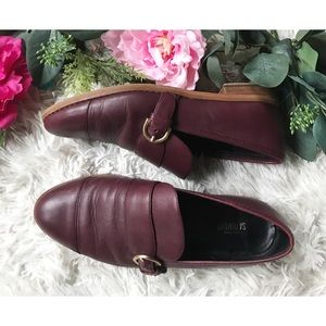 Kate Spade Saturday Maroon Buckle Leather Loaferss